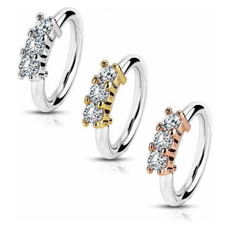 Ocelový piercing do ucha, do nosu - tenký kroužek, tři kulaté zirkony, 0,8 mm - Barva piercing:  Šperky eshop