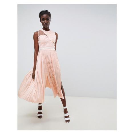 Three Floor Asymmetric Shoulder Pleated Midi Dress-Pink