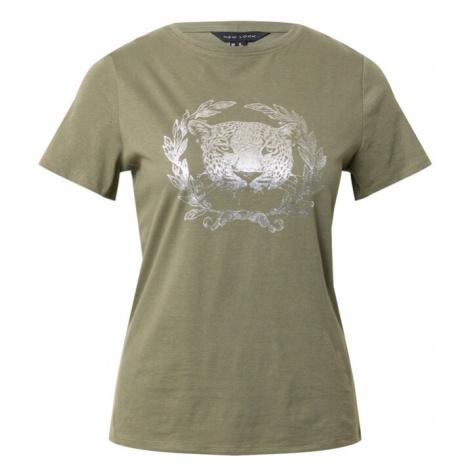 NEW LOOK Tričko khaki / stříbrná