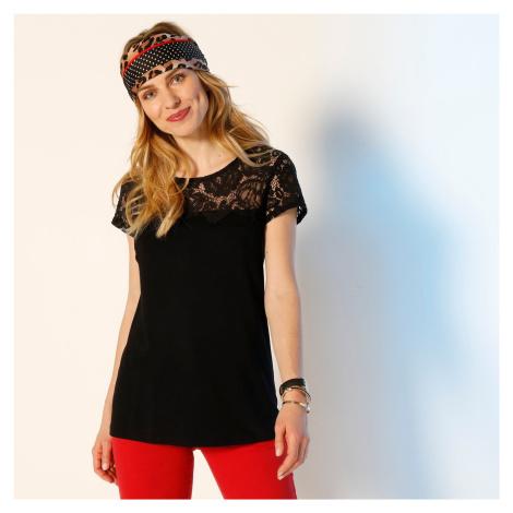 Blancheporte Tričko s krajkou a krátkými rukávy černá