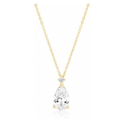 OLIVIE Stříbrný náhrdelník se zirkonem SLZA GOLD 4160