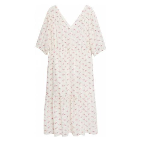 MANGO Šaty krémová / světle růžová