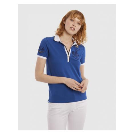 Polokošile La Martina Woman Polo Piquet Stretch - Modrá