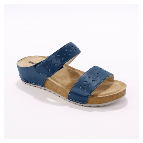 Blancheporte Kožené široké pantofle, námořnicky modré námořnická modrá