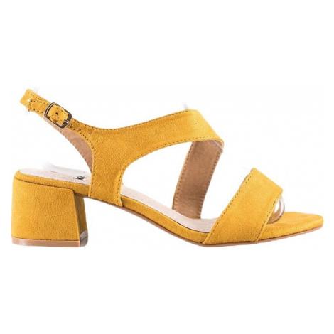 žluté sandálky na nízkém sloupku Kylie