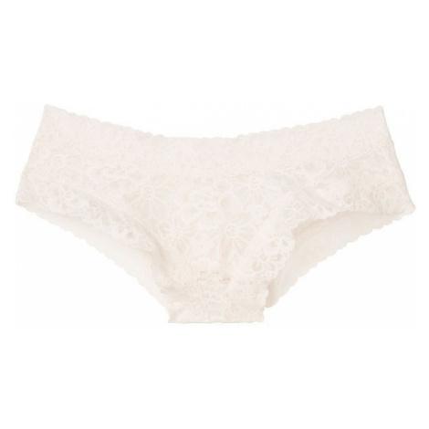 Victorias Secret krajkové brazilské kalhotky Floral Lace Cheeky Panty krémové L Victoria's Secret