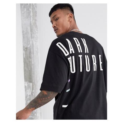 ASOS Dark Future oversized longline t-shirt in heavyweight jersey with back print-Black