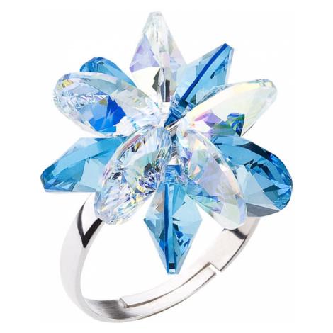 Evolution Group Stříbrný prsten s krystaly Swarovski modrá kytička 35024.3