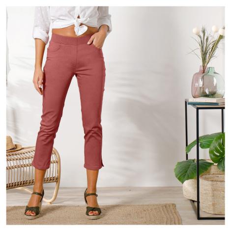 Blancheporte 3/4 plátěné kalhoty s pružným pasem terakota