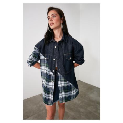 Trendyol Dark Blue Plaid Denim Shirt