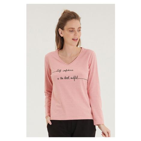 Dámské růžové tričko s dlouhým rukávem Blackspade
