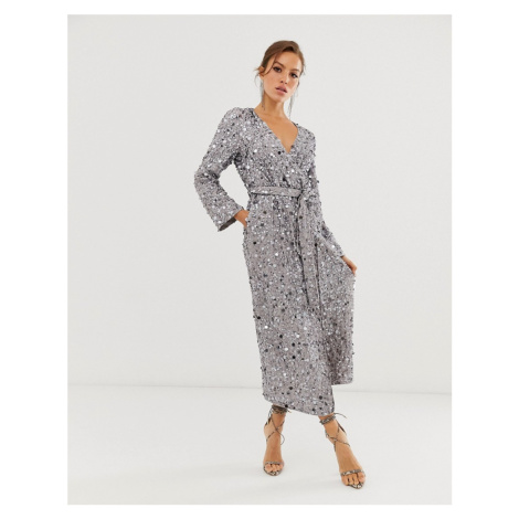 ASOS EDITION wrap midi dress in disc sequin-Grey