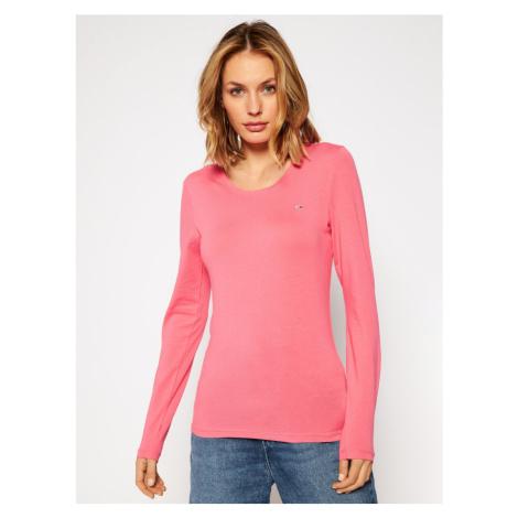 Tommy Jeans dámské růžové tričko s dlouhým rukávem Jersey Tommy Hilfiger
