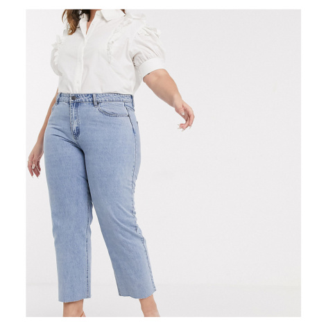 Lost Ink plus high waist straight leg jeans in light wash denim-Blue