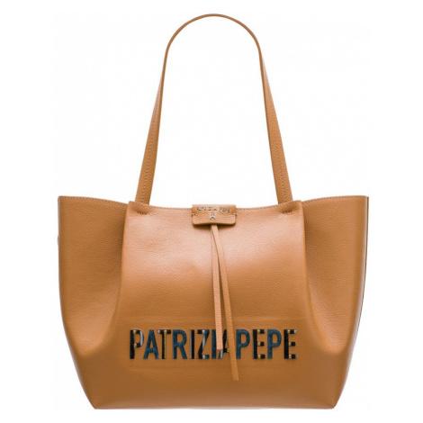 Patrizia Pepe kožená kabelka béžová s logem