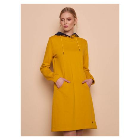 Tranquillo žluté mikinové šaty s kapsami