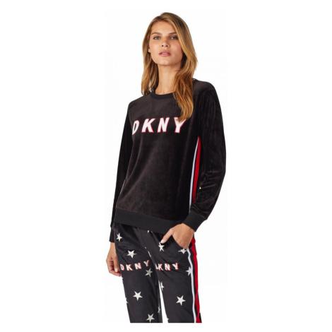 DKNY semišová logo mikina dámská - černá