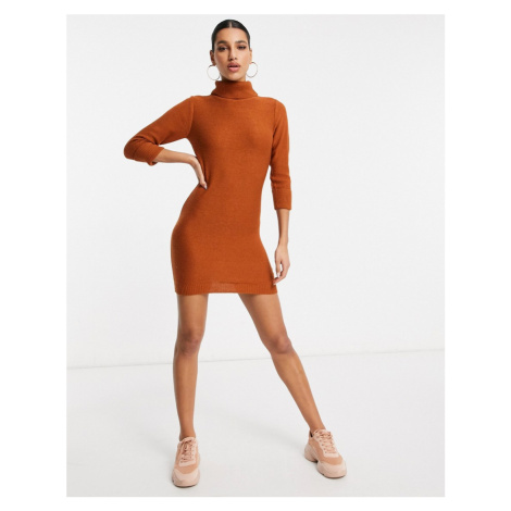 Brave Soul mny roll neck jumper dress in camel-Tan