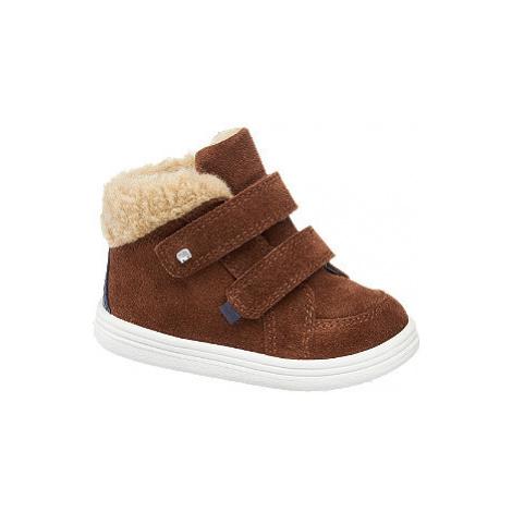 Hnědá kožená kotníková dětská obuv Elefanten na suchý zip