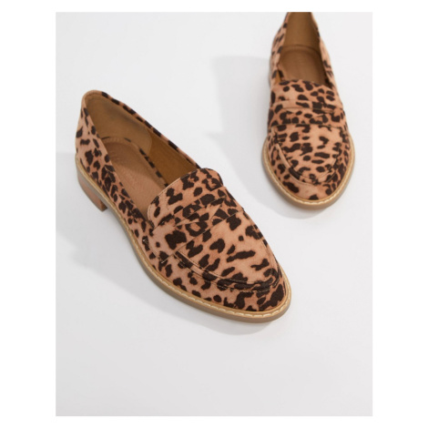 ASOS DESIGN Mantra loafer flat shoes in leopard-Brown