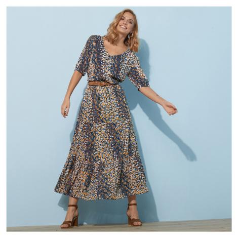 Blancheporte Dlouhá sukně s potiskem květin nám.modrá/kari