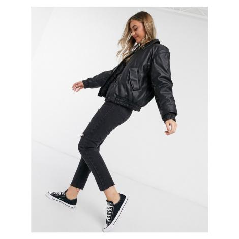 ASOS DESIGN cropped leather look bomber jacket in black