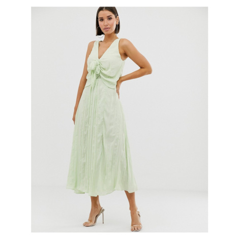 ASOS DESIGN knot front pleated maxi dress-Green
