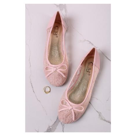 Světle růžové krajkové baleríny Mandy