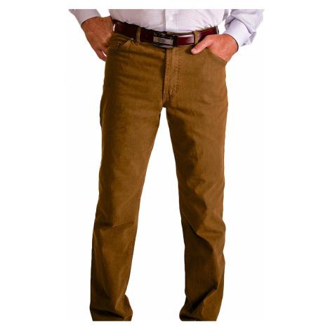 Hnědé volnočasové kalhoty Alain Delon