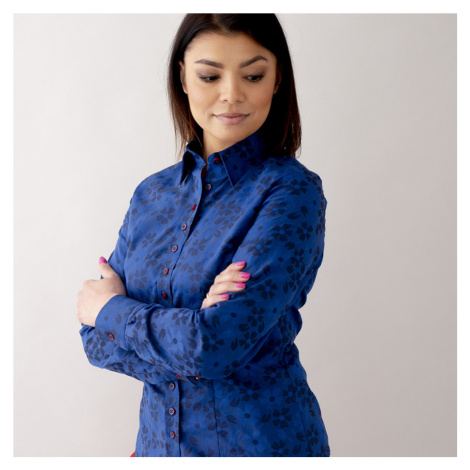 Dámská košile tmavě modrá květinový vzor 10474 Willsoor