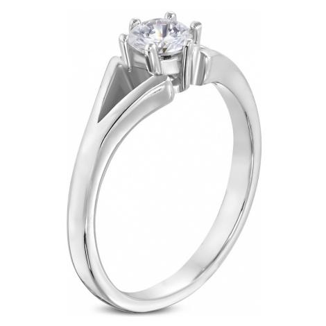 Ocelový prsten stříbrné barvy - zásnubní, rozdělená ramena, čirý zirkon Šperky eshop