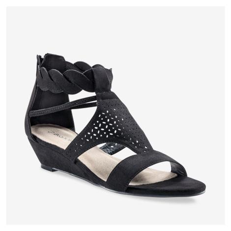 Blancheporte Perforované sandály se splétaným páskem černá