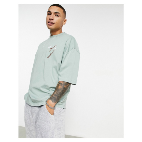 ASOS Dark Future oversized t-shirt in green with front logo print-Neutral