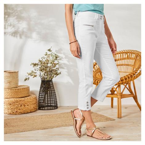 Blancheporte 3/4 barevné kalhoty s knoflíky na koncích nohavic bílá