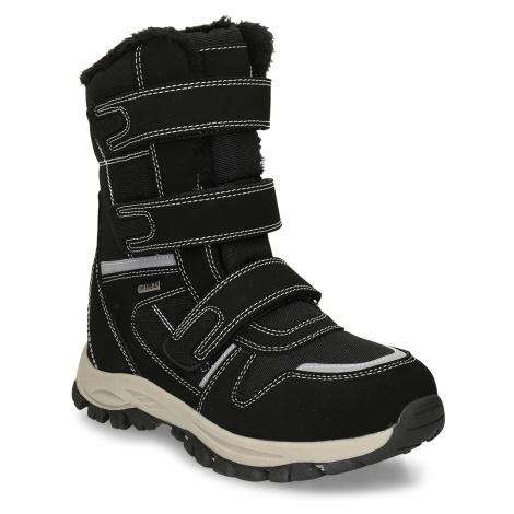 Černá dětská zimní obuv s prošitím Baťa