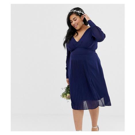 TFNC Plus long sleeve midi bridesmaid dress with pleated skirt in navy
