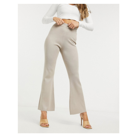 Missguided co-ord flared trouser in beige-Neutral