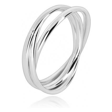 Trojitý prsten ze stříbra 925 - úzké propojené prstence s lesklým povrchem