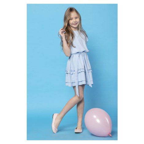 Volánkové dívčí růžové šaty modré dětské s krátkým rukávem