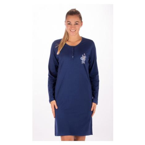 Dámská noční košile s dlouhým rukávem Vienetta Secret Julie Modrá | modrá