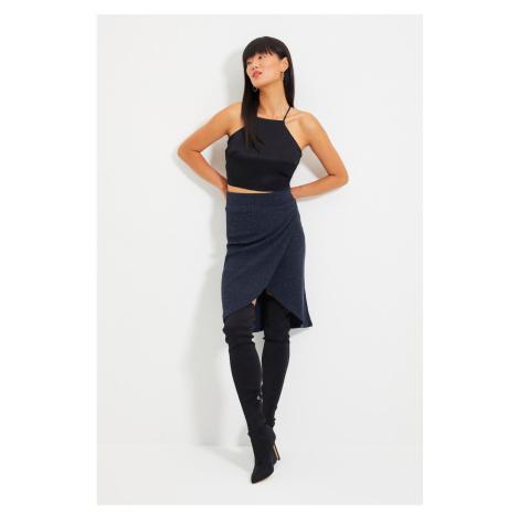 Trendyol Navy Blue Knitwear Look Midi Knitted Skirt