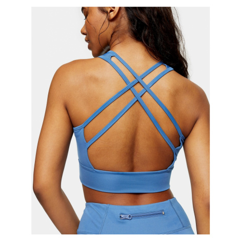 Topshop active sports bra in blue-Brown