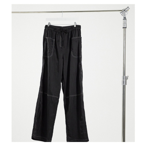 COLLUSION crinkle nylon wide leg trousers with seam detail in black