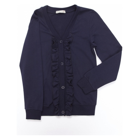 Navy blue sweatshirt for girls with a sweater cut Fashionhunters