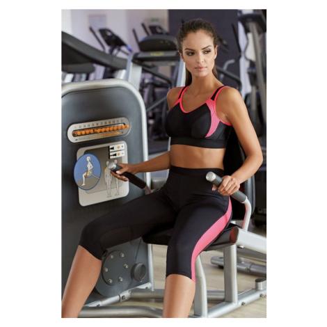 Lorin Dámské 3/4 fitness legíny Terry růžové pruhy