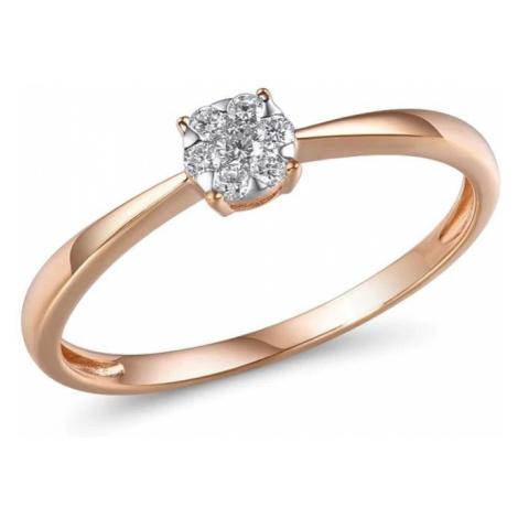 Zásnubní prsten z růžového zlata pro dámy s diamanty