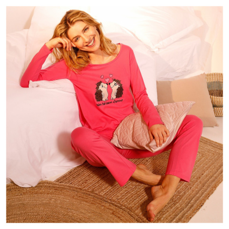Blancheporte Pyžamo s kalhotami a potiskem ježků fuchsie