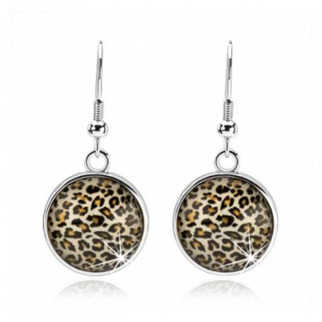 Náušnice ve stylu kabošon, visící kruh s vypouklým sklem, leopardí vzor