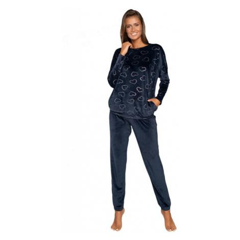 Dámské pyžamo Eliksir tmavě modré se srdíčky Italian Fashion