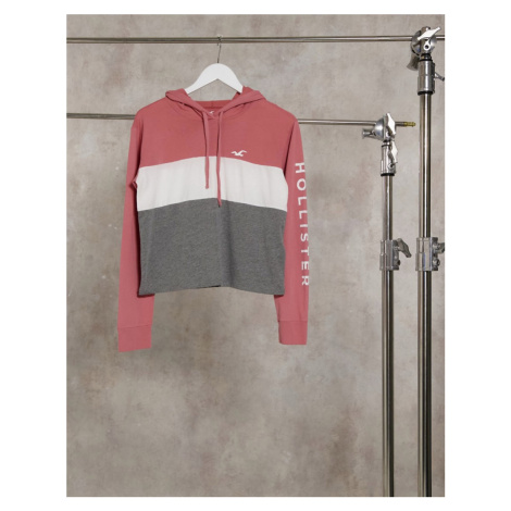 Hollister hoodie with front stripe-Pink